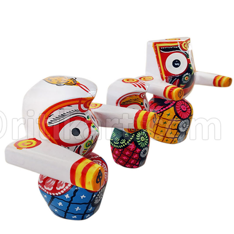 Jagannath, Balabhadra & Subhadra Wooden Idol 4 Inch Height-pc2