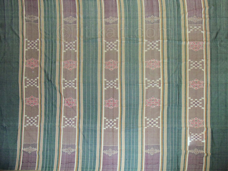 Sambalpuri Double Bed Cover Green and Grey Color-pic3