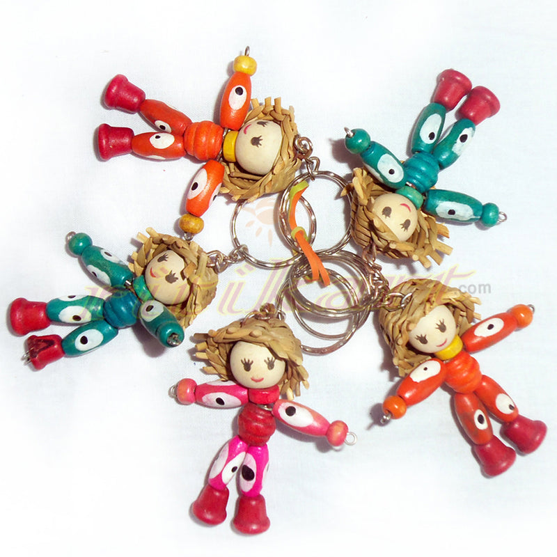 Wooden Doll Key Ring Set Of 5-pic3