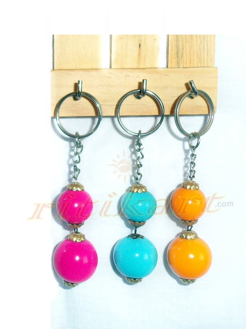 Wooden Ball Key Ring Set Of 3-pic2