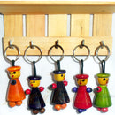 Chanapatana Wooden Doll design Key Ring Set Of 5 pic-2