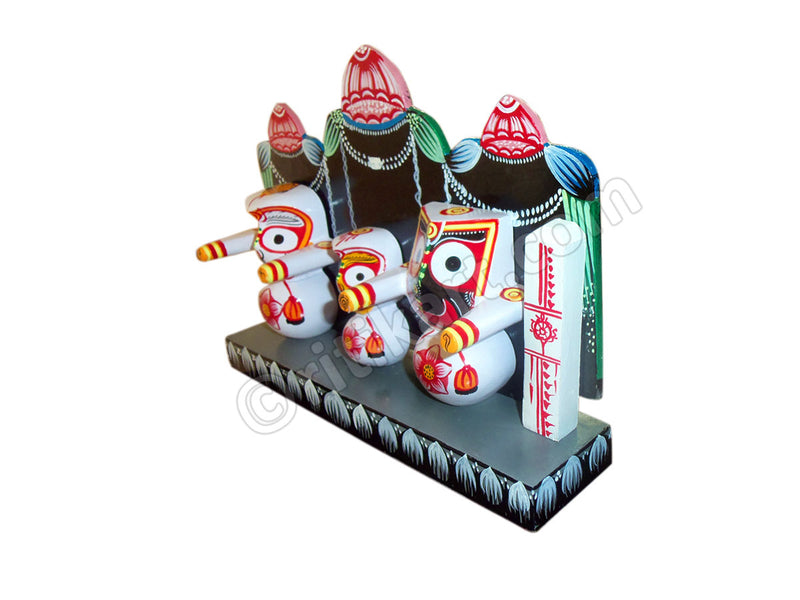 Lord Jagannath Balabhadra Subhadra Idol With Prabha (4 Inch) pic-3