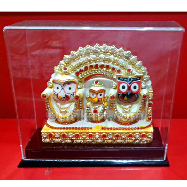 Multi Color Lord Jagannath Balabhadra And Subhadra Marble Statue pic-1