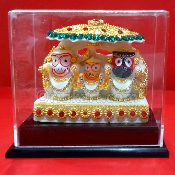 Marble Work-Lord Jagannath Balabhadra And Subhadra Statue With A Stand