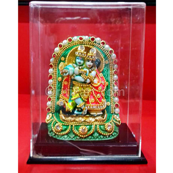 Marble Work-Lord Radha Krishnna Statue With A Stand
