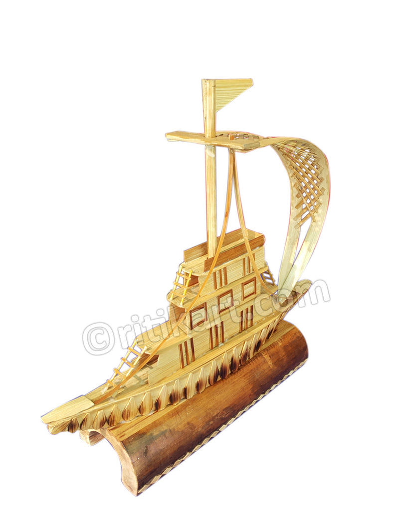 Handcrafted Bamboo Boat Showpiece-pic3