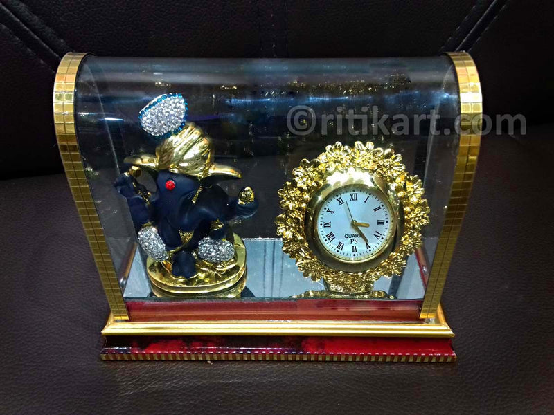 Gold-Plated Alloy Lord Ganesh and Clock Showpiece-pic3