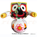Jagannath Balabhadra Subhadra Wooden Idol Height 15 CMs Round Design-pc2