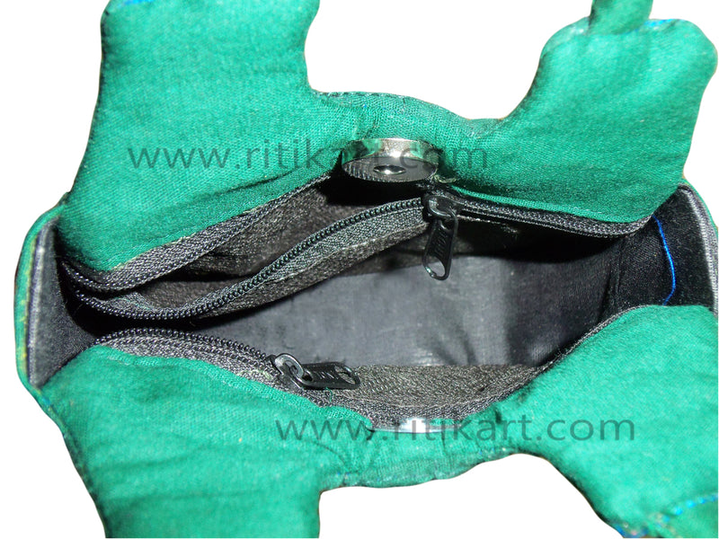 Pipili Hand Made fancy Ladies Green Bag-pc3