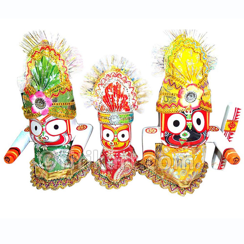 Jagannath Balabhadra Subhadra Wooden Idol 6 Inch High-pc5