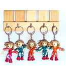 Wooden Doll Key Ring Set Of 5