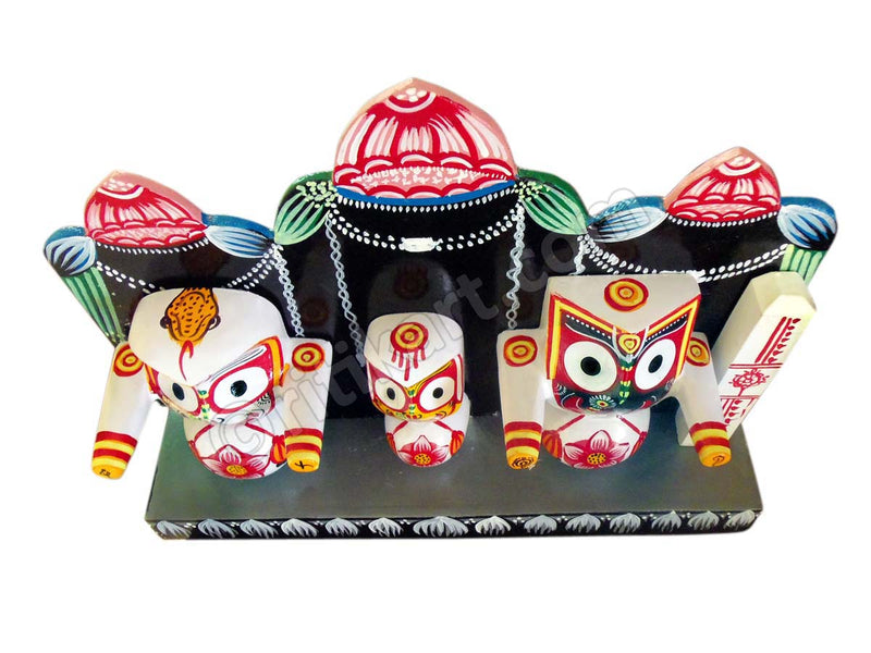 Lord Jagannath Balabhadra Subhadra Idol With Prabha (4 Inch) pic-2