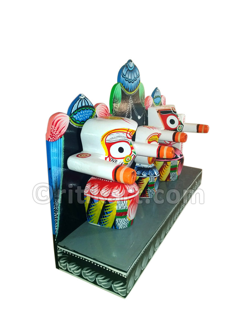 Lord Jagannath Balabhadra Subhadra idol 6 Inch With Prabha pic-3