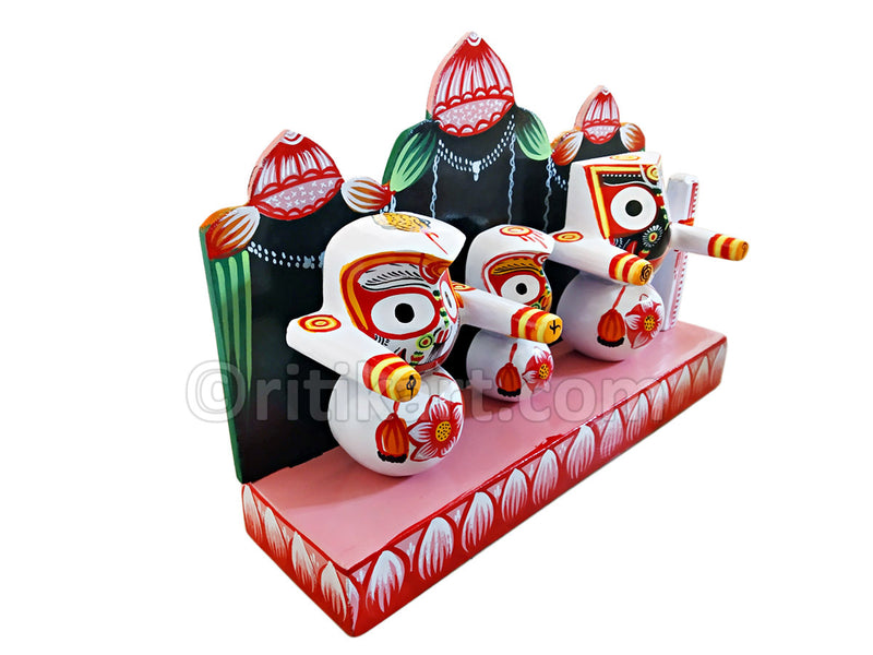 Lord Jagannath Balabhadra Subhadra idol 4 inch with Dias pic-4