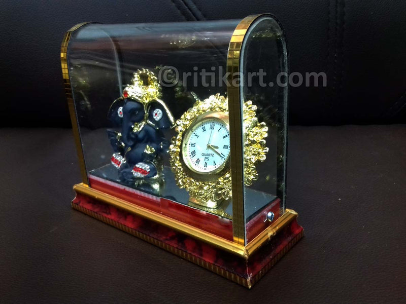 Gold-Plated Alloy Ganesh and Clock Showpiece