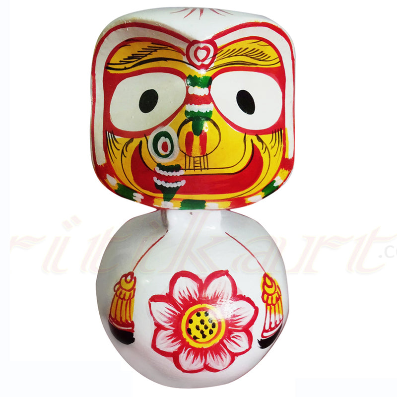 Jagannath Balabhadra Subhadra Wooden Idol Height 15 CMs Round Design-pc3