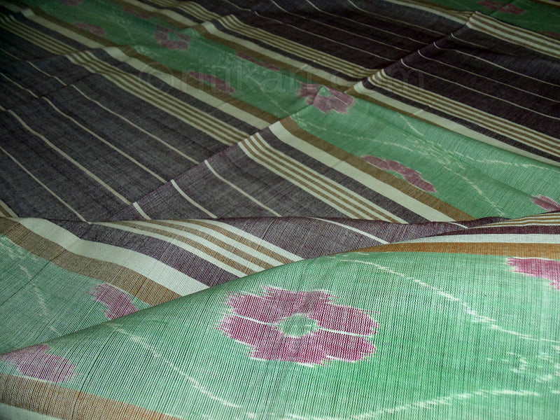 Sambalpuri Light Green and Grey Color Double Bed Sheet-pic2