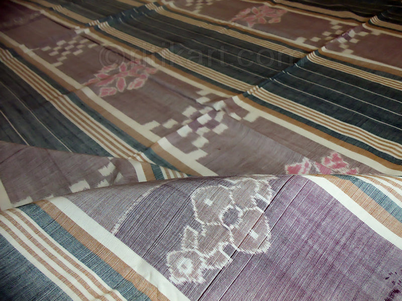 Sambalpuri Double Bed Cover Green and Grey Color