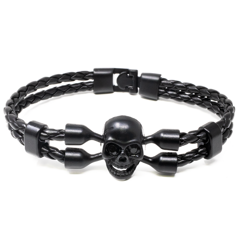 Pulsera Leather Skull in Black