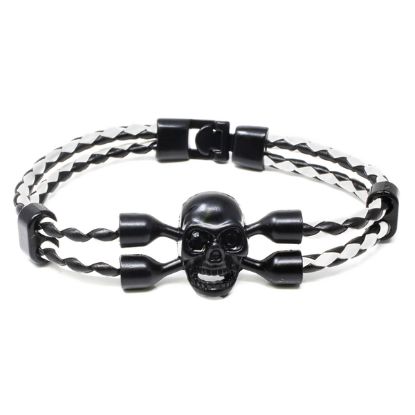 Pulsera Leather Skull in Black and White