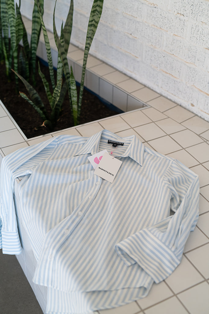Stripe linen button up shirt.
