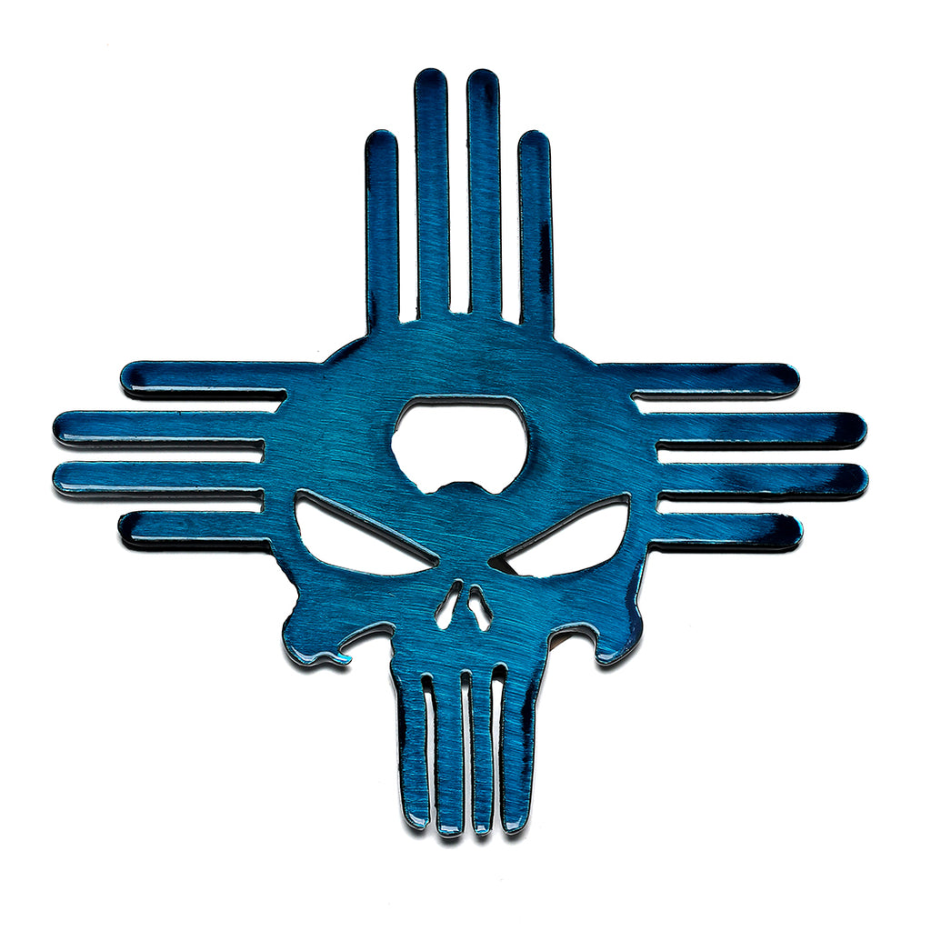 Zia hitch cover with Punisher and embedded bottle opener in Candy Blue