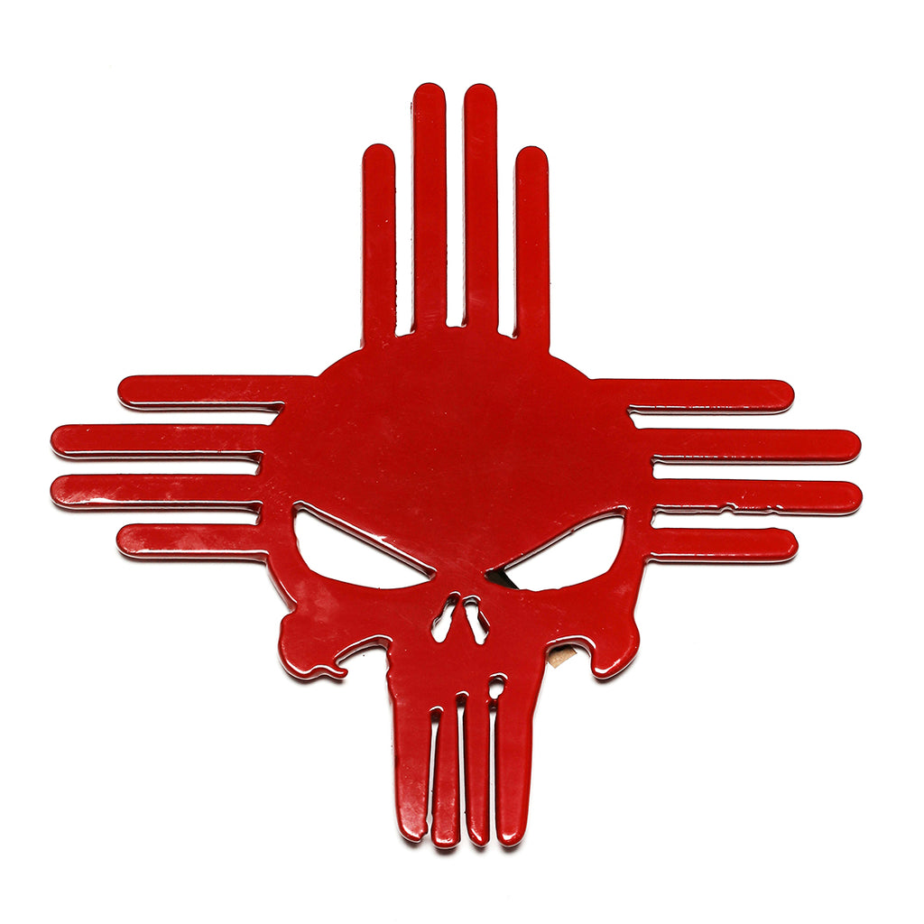 Zia hitch cover with Punisher image in Red
