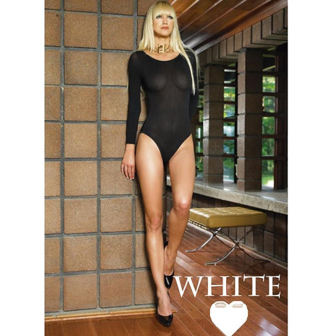 140D Opaque Long Sleeves Bodysuit O-S White
