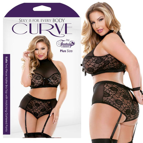 Curve Katia Two Piece Halter Bra Top With Matching Gartered Panty Black 1X-2X