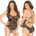 Rose Lace Strappy Back Teddy O-S Black