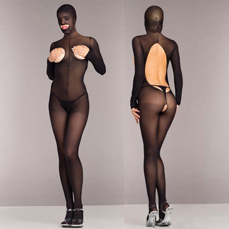 Opaque Cupless And Crotchless Hooded Bodystocking One Size Black