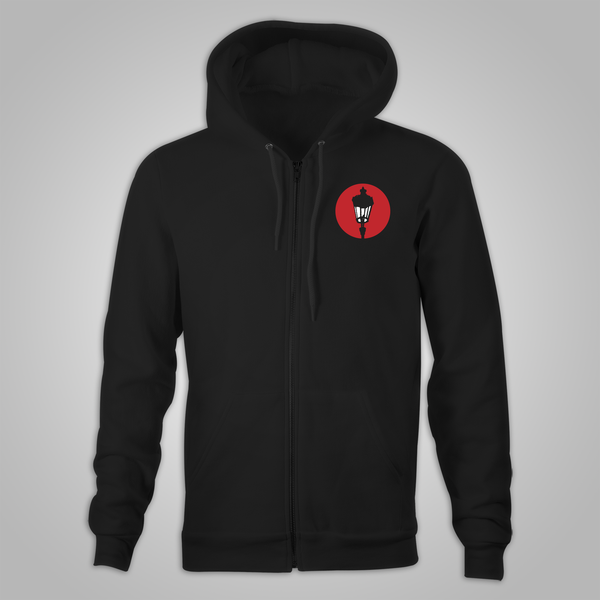 "Streetlight Manifesto ""Mystery Man Skyline"" Zip-Up Hoodie (Black)"