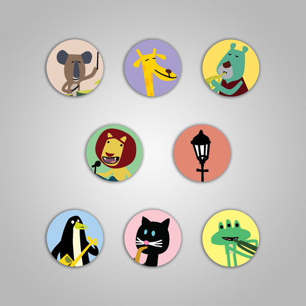 "Streetlight Manifesto ""Impressed Animals"" Pin Pack (Set of 8)"