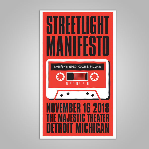 "Streetlight Manifesto ""Everything Goes Numb Tour DETROIT"" Screen Print Poster (2018)"