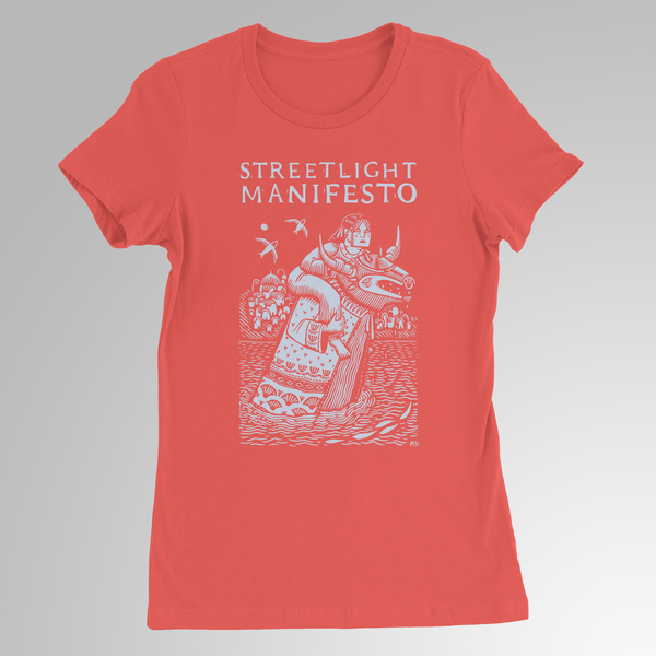 "Streetlight Manifesto ""Europa Bull"" Womens T-Shirt (Coral) SOLD OUT"