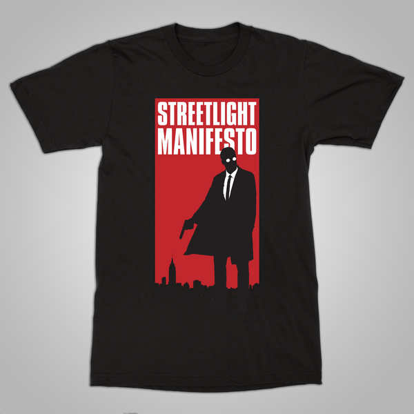 "Streetlight Manifesto ""Mystery Man Skyline"" T-Shirt (Black)"