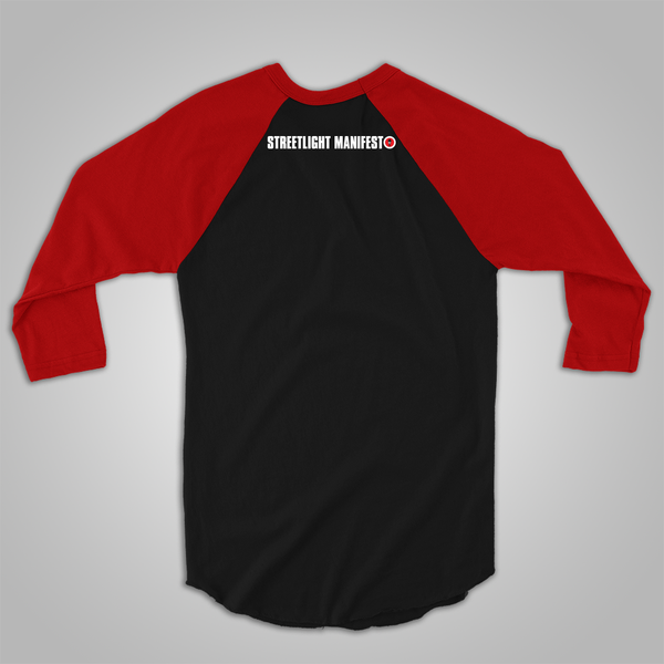 "Streetlight Manifesto ""Instrument Collage"" Baseball T-Shirt (Black & Red)"