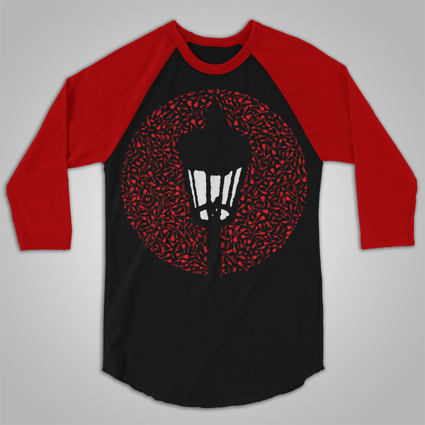 "Streetlight Manifesto ""Instrument Collage"" Baseball T-Shirt (Black & Red) SOLD OUT"