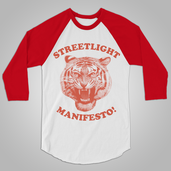 "Streetlight Manifesto ""Tiger Baseball"" Raglan Shirt (White & Red)"