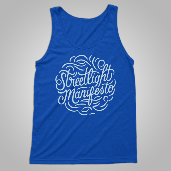"Streetlight Manifesto ""Calligraphy"" Tank (Blue) (Sold Out)"