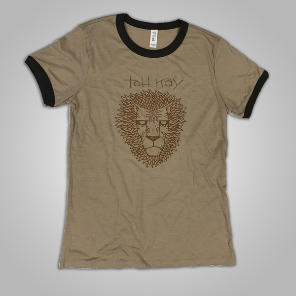 "Toh Kay ""Lion"" Womens Ringer T-Shirt (Tan/Brown)"