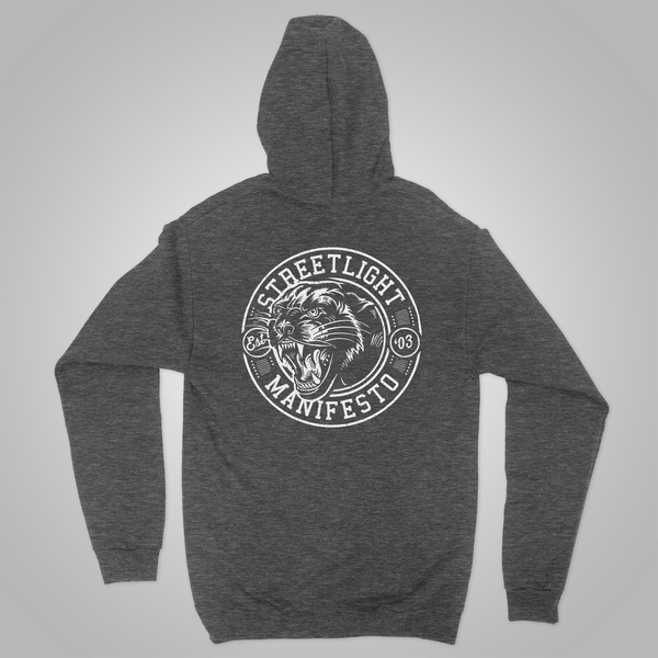 "Streetlight Manifesto ""Panther"" Zip-Up Hoodie (Heather Grey) SOLD OUT"