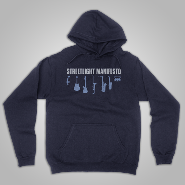 "Streetlight Manifesto ""Instrument Collage"" Pullover Hoodie (Navy Blue)"