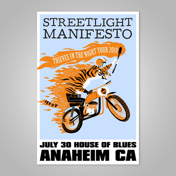 "Streetlight Manifesto ""Thieves in the Night Tour 2019 ANAHEIM"" Dirt Bike Tiger Screen Print Poster"