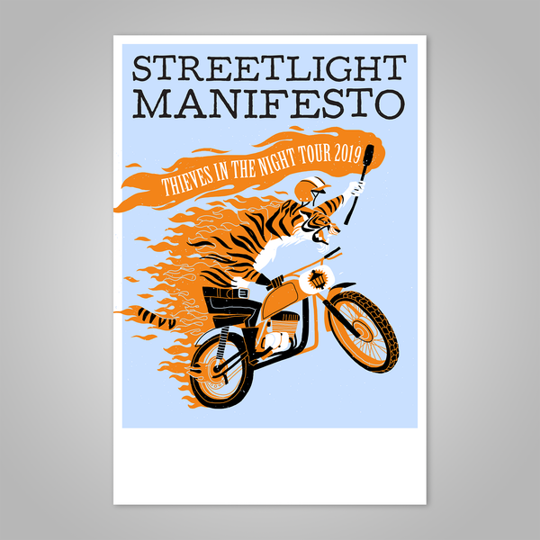 "Streetlight Manifesto ""Thieves in the Night Tour 2019"" Dirt Bike Tiger Screen Print Poster"