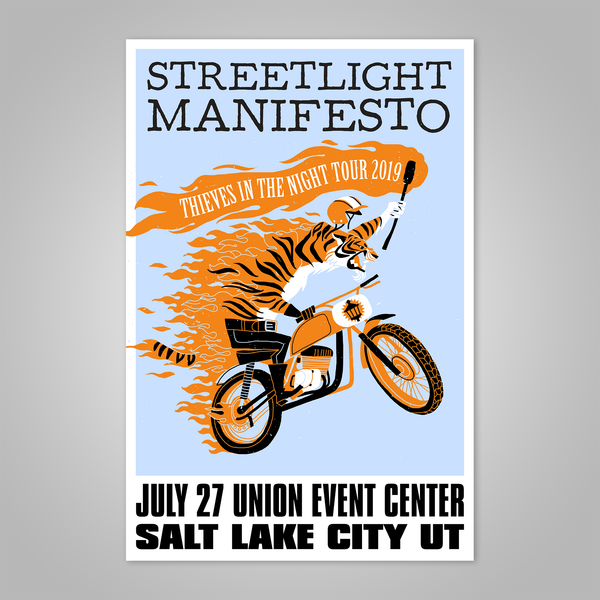 "Streetlight Manifesto ""Thieves in the Night Tour 2019 SALT LAKE CITY"" Dirt Bike Tiger Screen Print Poster"