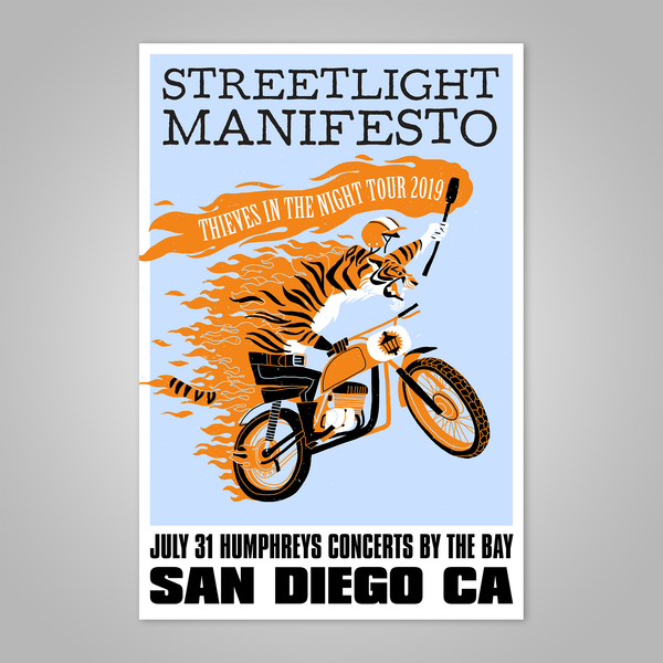 "Streetlight Manifesto ""Thieves in the Night Tour 2019 SAN DIEGO"" Dirt Bike Tiger Screen Print Poster"