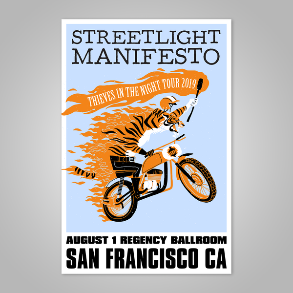 "Streetlight Manifesto ""Thieves in the Night Tour 2019 SAN FRANCISCO"" Dirt Bike Tiger Screen Print Poster"