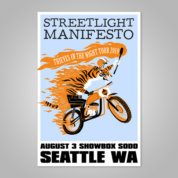 "Streetlight Manifesto ""Thieves in the Night Tour 2019 SEATTLE"" Dirt Bike Tiger Screen Print Poster"