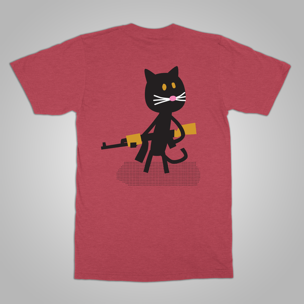 "Streetlight Manifesto ""Sax Cat"" T-Shirt (Heather Red)"